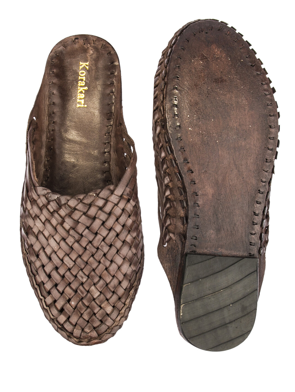 KORAKARI Brown Pure Leather Kolhapuri Half Slip On Shoe For Women