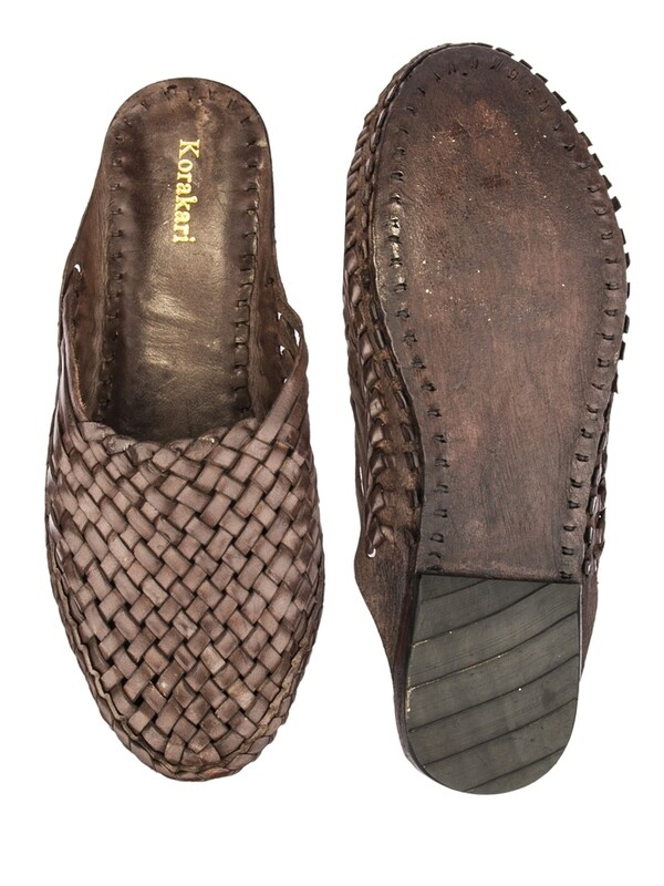 KORAKARI Brown Pure Leather Kolhapuri Half Slip On Shoe For Women