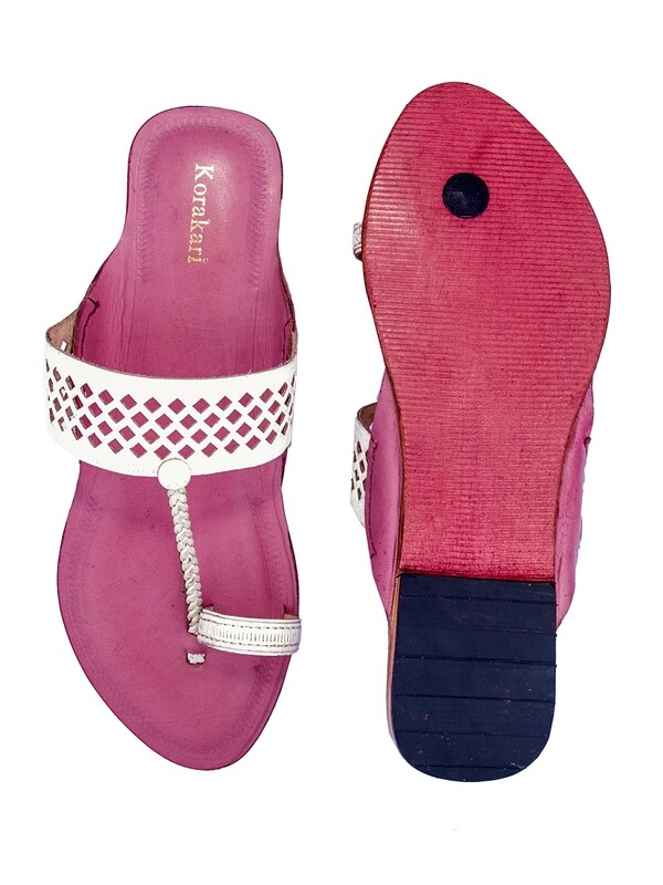 KORAKARI Diamond Punching White Upper With Baby Pink Base Pure Leather Kolhapuri Chappal For Women