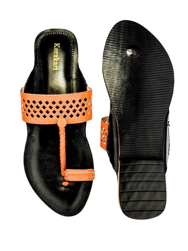 KORAKARI Diamond Punching Orange Upper And Dark Brown Base Pure Leather Kolhapuri Chappal For Women