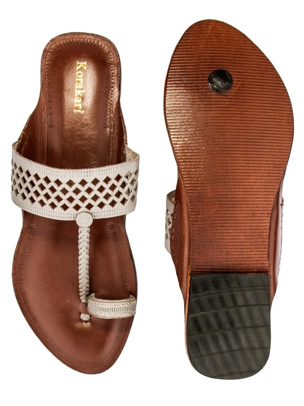 KORAKARI Diamond Punching Grey Upper With Light Brown Base Pure Leather Kolhapuri Chappal For Women