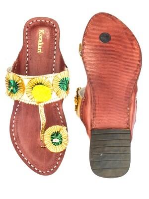 KORAKARI Brick Brown Base And Golden Upper Pure Leather Kolhapuri Chappal For Women