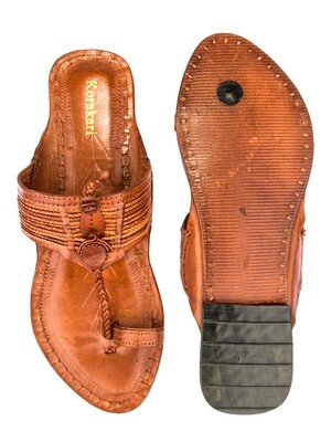KORAKARI Vintage Design Tan Pure Leather Kolhapuri Chappal For Women