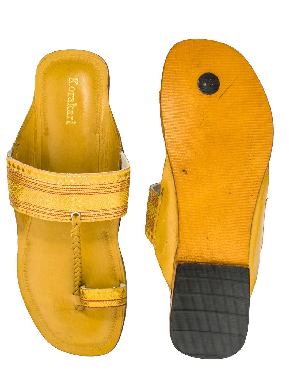 KORAKARI Yellow Zari Belt Pure Leather Kolhapuri Chappal For Women