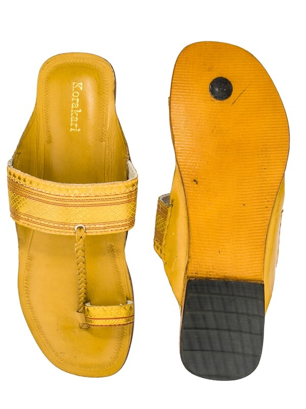 KORAKARI Yellow Zari Belt Pure Leather Kolhapuri Chappal For Women