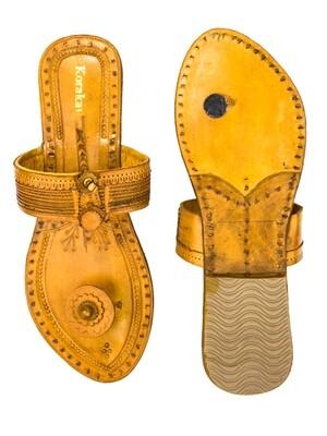 KORAKARI Light Yellow Pure Leather Kolhapuri Chappal for Women