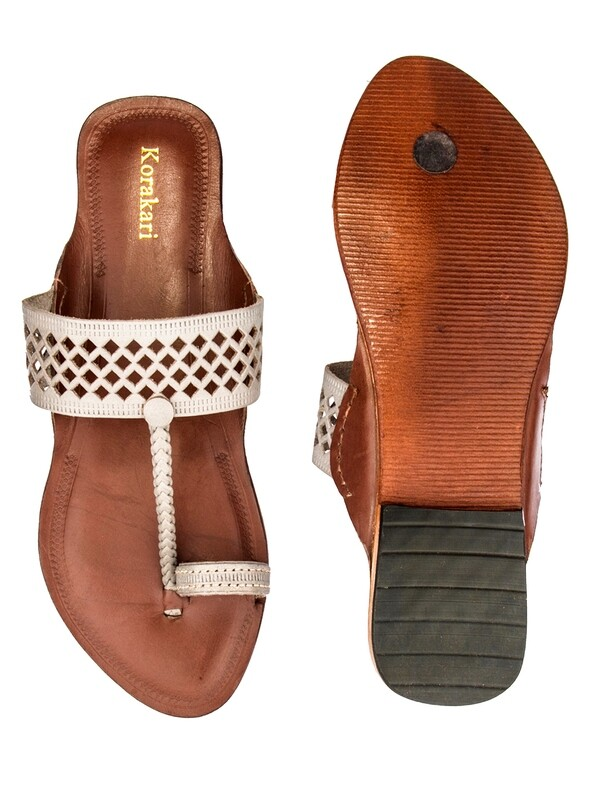 KORAKARI Diamond Punching Grey Upper And Brown Base Pure Leather Kolhapuri Chappal For Women