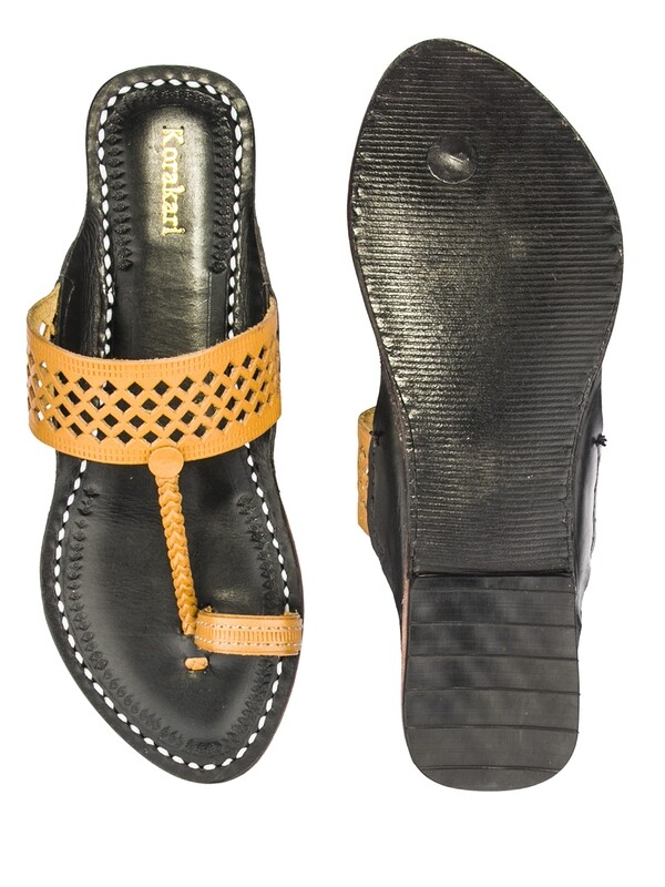 KORAKARI Dark Yellow Diamond Punching Upper and Black Base Pure Leather Authentic Kolhapuri Chappal For Women