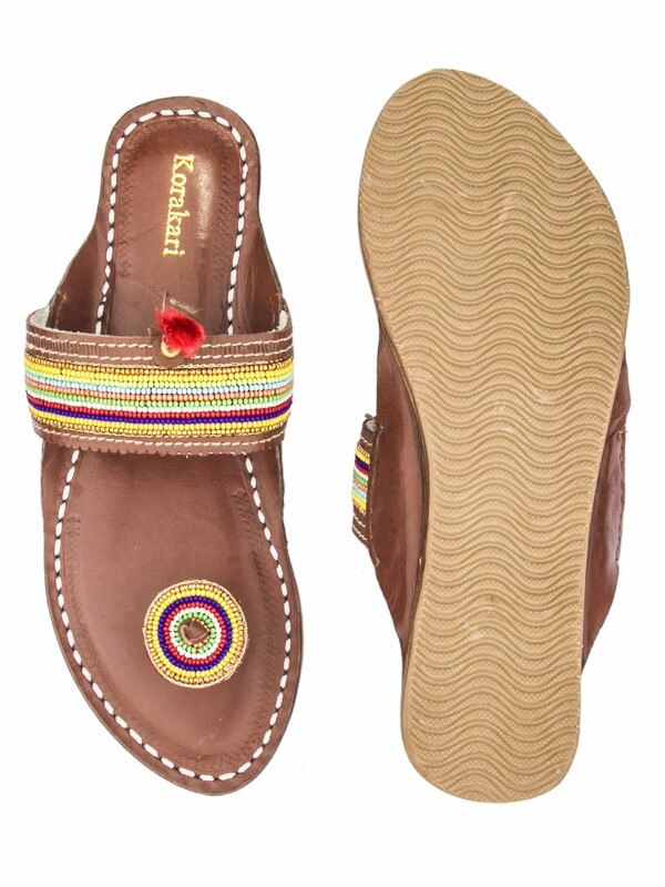 KORAKARI Brown Base Seven Color Beads Work Handmade Pure Leather Kolhapuri Flip Flop For Women