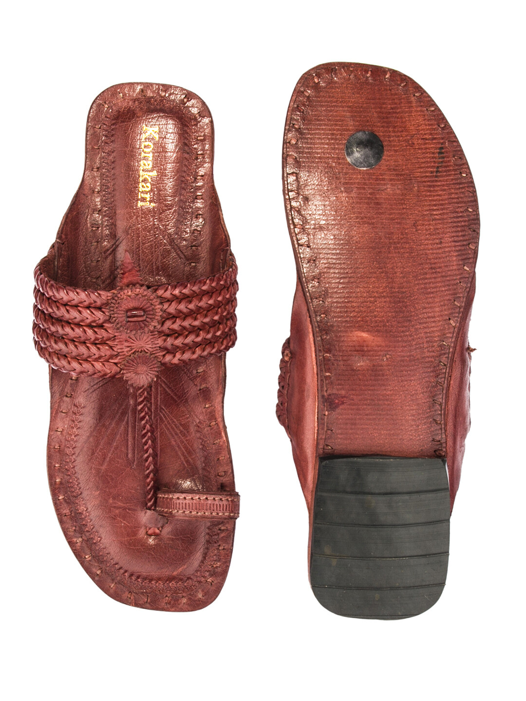 KORAKARI Dark Red Braided Pure Leather Kolhapuri Chappal For Women