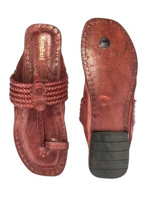 KORAKARI Dark Red Braided Pure Leather Kolhapuri Chappal For Women