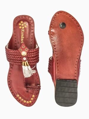 KORAKARI Six Braided Pom-Pom Brown Vintage Design Pure Leather Kolhapuri Chappal For Women
