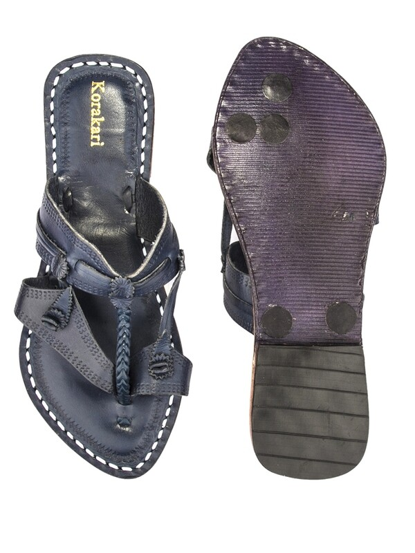 KORAKARI Vintage Design Dark Blue Pure Leather Kolhapuri Chappal For Women