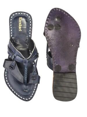 KORAKARI Vintage Design Dark Blue Pure Leather Kolhapuri Chappal For Women
