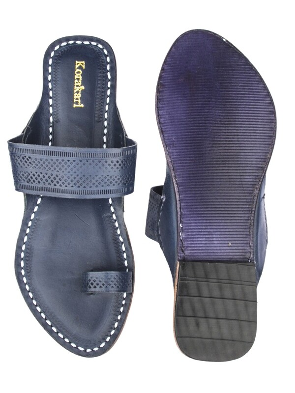 KORAKARI Dark Blue Toe Style Pure Leather Kolhapuri Sandal For Women