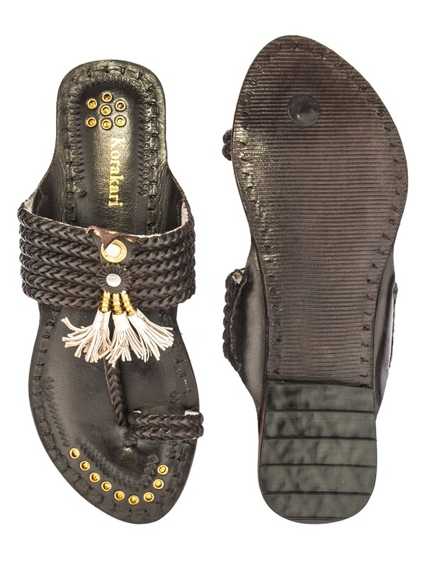 KORAKARI Six Braided Dark Brown Handmade Pure Leather Kolhapuri Chappal For Women