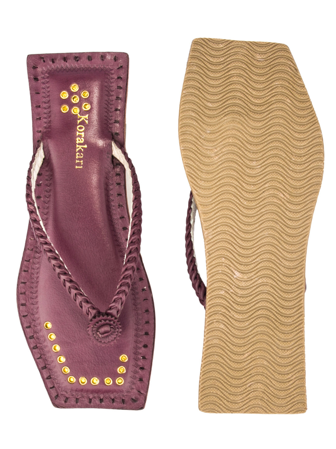 KORAKARI Purple T Shape Single Braided Pure Leather Ethnic Kolhapuri Chappal For Women