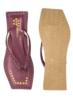 KORAKARI Purple T Shape Single Braided Pure Leather Ethnic Kolhapuri Chappal For Women
