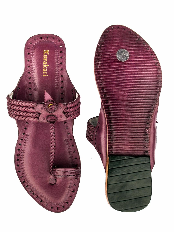 KORAKARI Purple Four Braided Pure Leather Ethnic Kolhapuri Chappal For Women