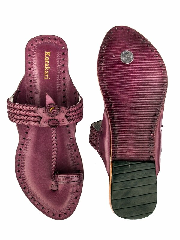 KORAKARI Purple Four Braided Pure Leather Ethnic Kolhapuri Chappal For Women