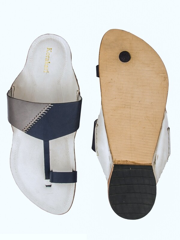 KORAKARI White Base Pure Leather Original Kolhapuri Chappal For Men