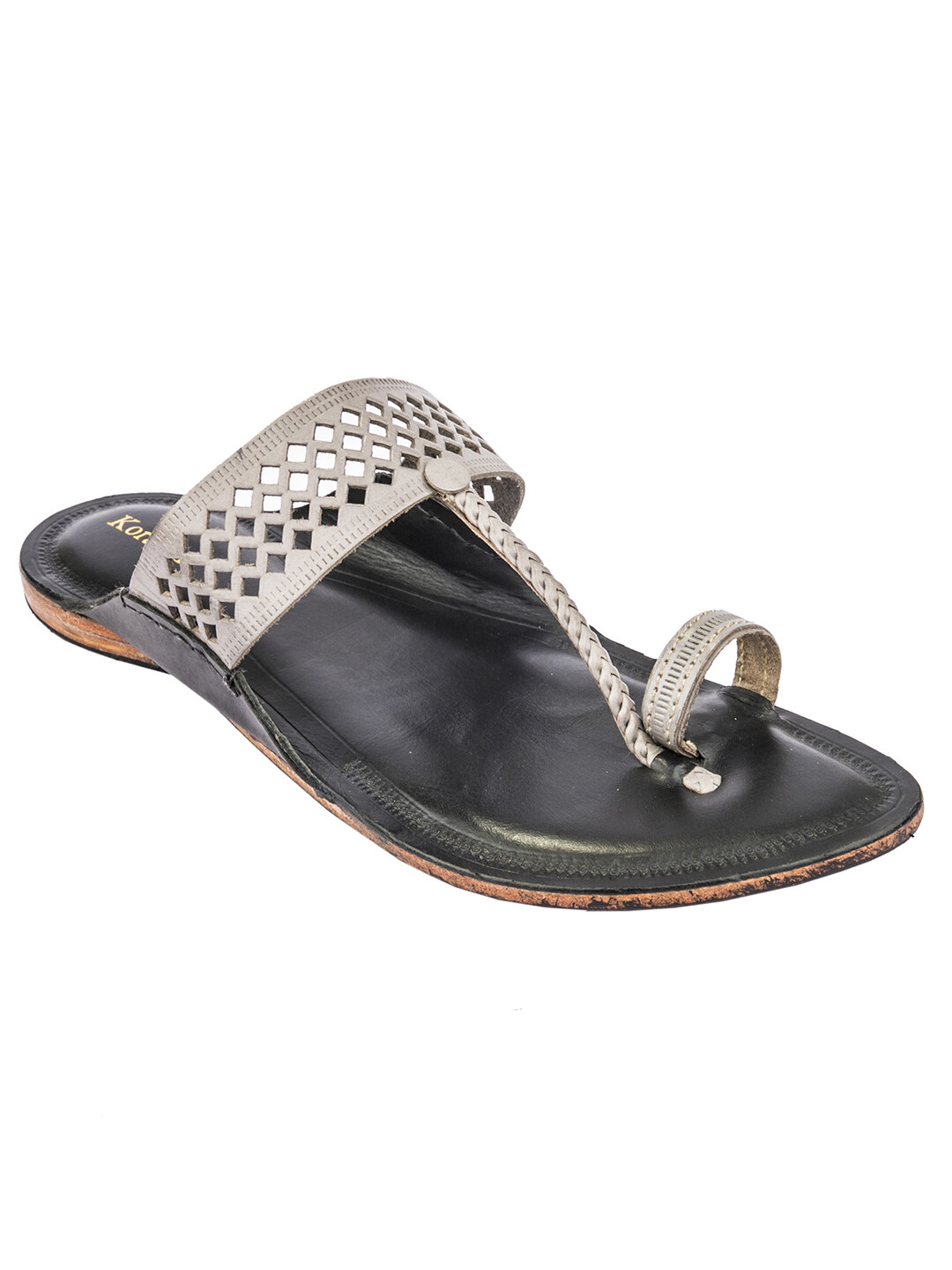 KORAKARI Grey Color Upper and Black Base Pure Leather Reliable Kolhapuri Chappal for Men