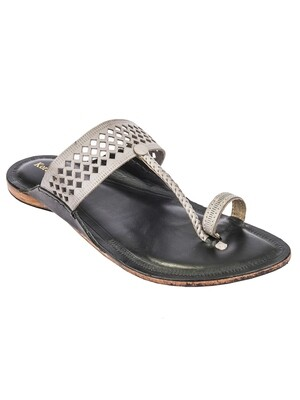 KORAKARI Grey Color Upper and Black Base Pure Leather Reliable Kolhapuri Chappal for Men
