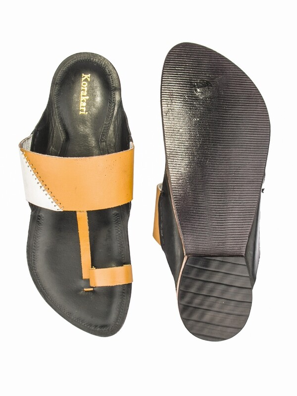 KORAKARI Black Base Pure Leather Authentic Kolhapuri Chappal for Men