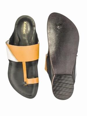 KORAKARI Black Base Pure Leather Authentic Kolhapuri Chappal for Men