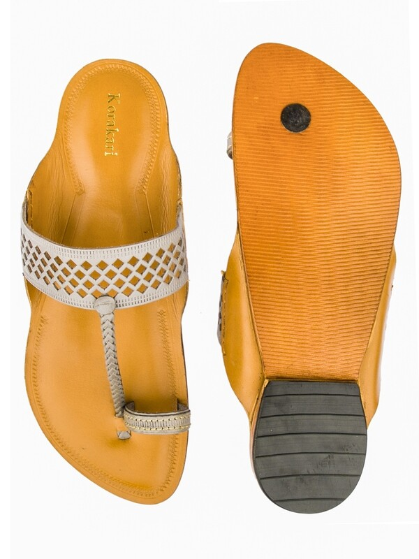 KORAKARI Grey Color Upper and Dark Yellow Base Pure Leather Authentic Kolhapuri Chappal for Men