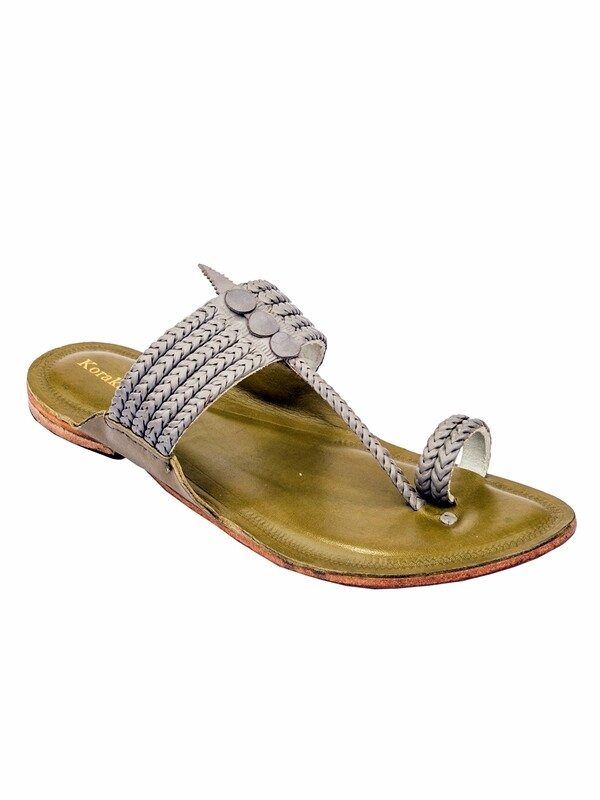 KORAKARI Grey Upper and Green Base Pure Leather Authentic Kolhapuri Chappal for Men
