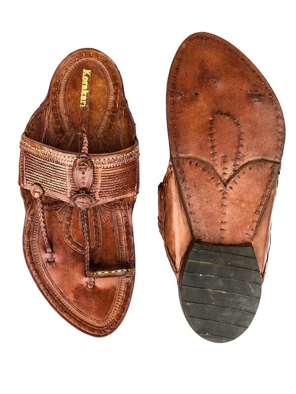 KORAKARI Tan Pure Leather Kolhapuri Chappal for Men