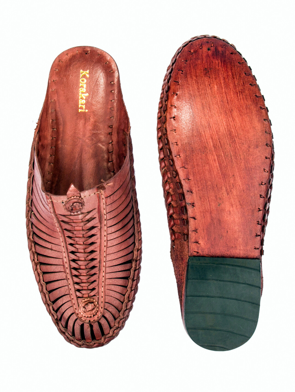 KORAKARI Red Pure Leather Kolhapuri Half Shoe for Men