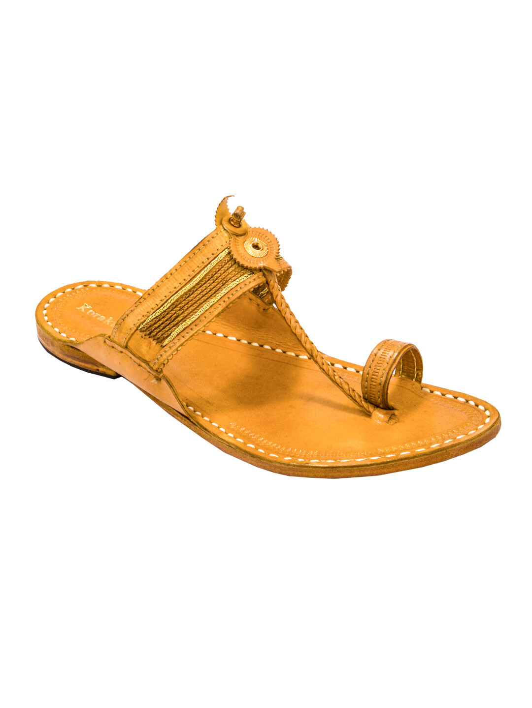 KORAKARI Light Yellow Pure Leather Kapshi Kolhapuri Chappal for men