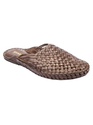 KORAKARI Brown Pure Leather Half kolhapuri Shoe for men