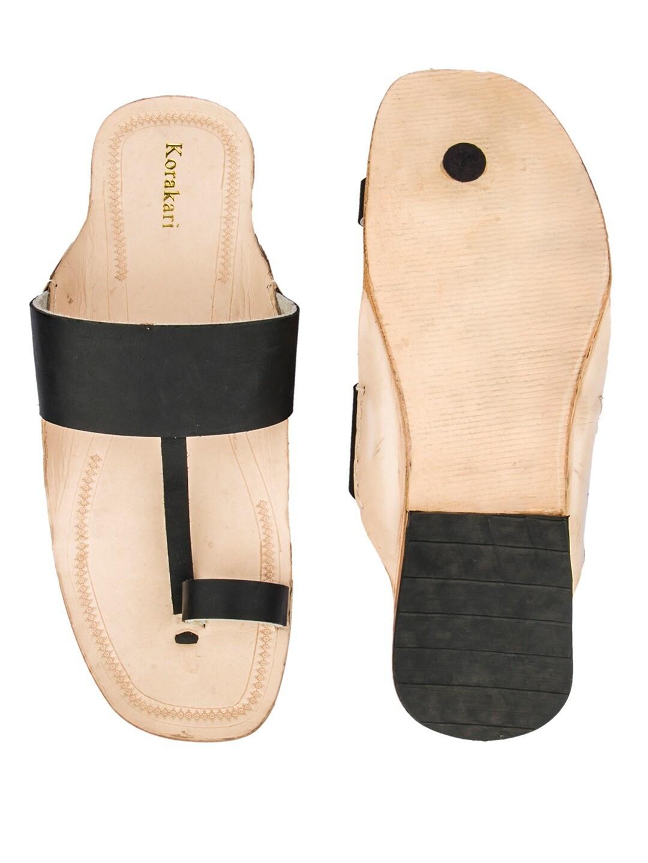 KORAKARI Black belt and Nude Base Pure Leather Sandal for Men