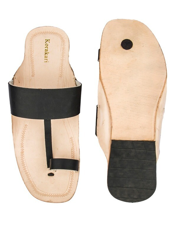 KORAKARI Black belt and Nude Base Pure Leather Sandal for Men