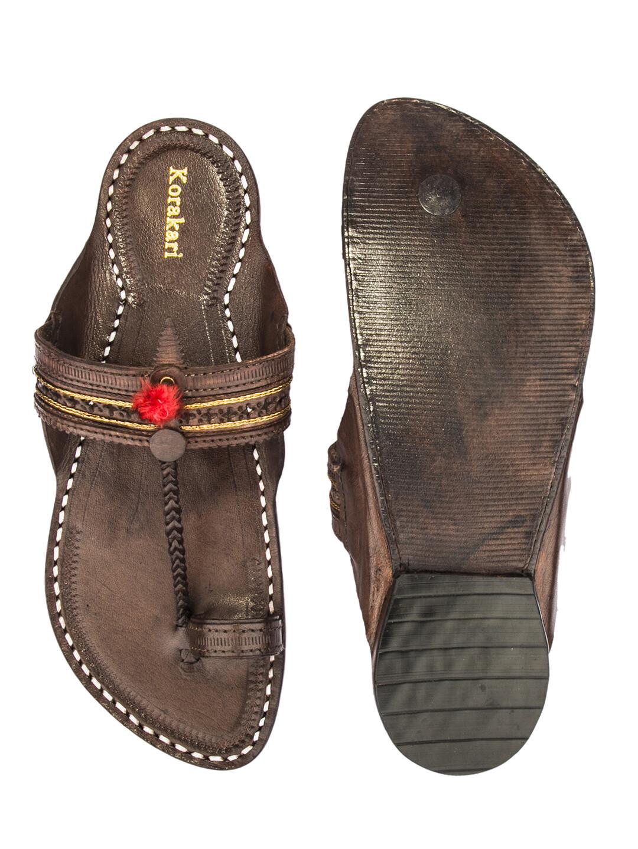 KORAKARI Dark Brown Pure Leather Kapshi Kolhapuri Chappal for Men