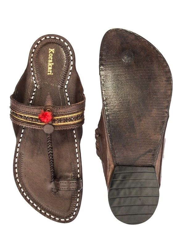 KORAKARI Dark Brown Pure Leather Kapshi Kolhapuri Chappal for Men