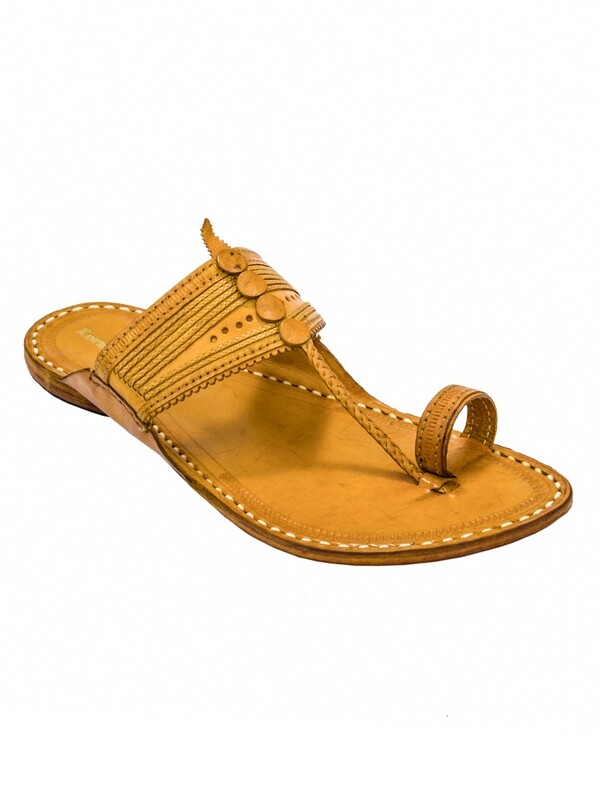 KORAKARI Yellow Pure Leather Kapshi Kolhapuri Chappal for Men
