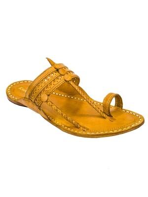 KORAKARI Yellow Pure Leather Kapshi Kolhapuri Chappal for Men