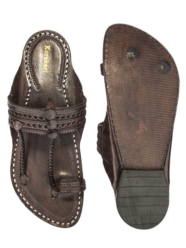 KORAKARI Dark Brown Punching Design Pure Leather Kapshi Kolhapuri Chappal for Men
