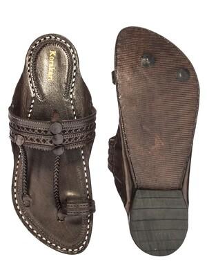 KORAKARI Dark Brown Punching Design Pure Leather Kapshi Kolhapuri Chappal for Men