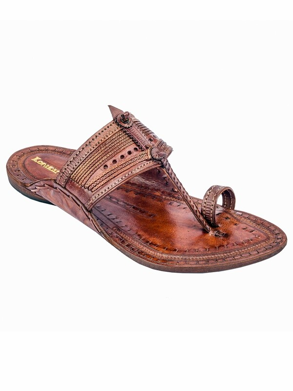 KORAKARI Tan Pure Leather Kapshi Kolhapuri Chappal for Men