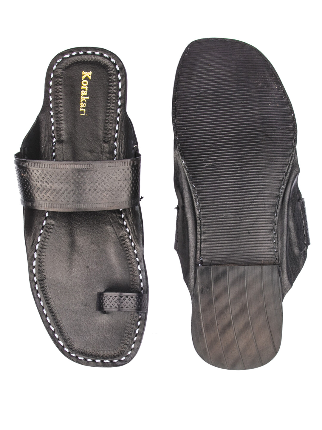 KORAKARI Black Toe Style Pure Leather Kolhapuri Chappal for Men