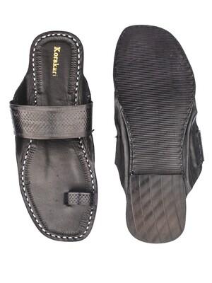 KORAKARI Black Toe Style Pure Leather Kolhapuri Chappal for Men