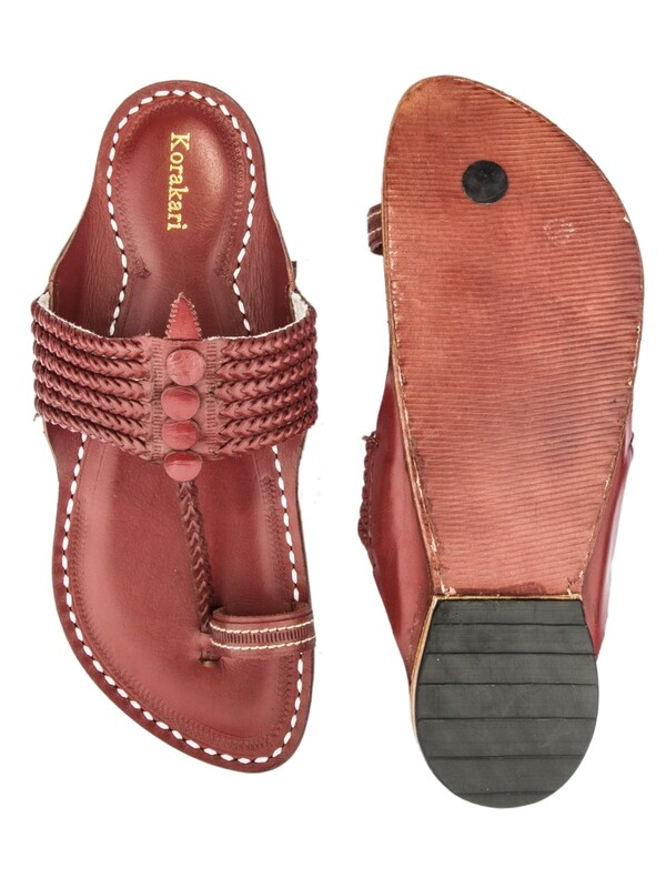 KORAKARI Red Six Braided Pure Leather Kapshi Kolhapuri Chappal for Men