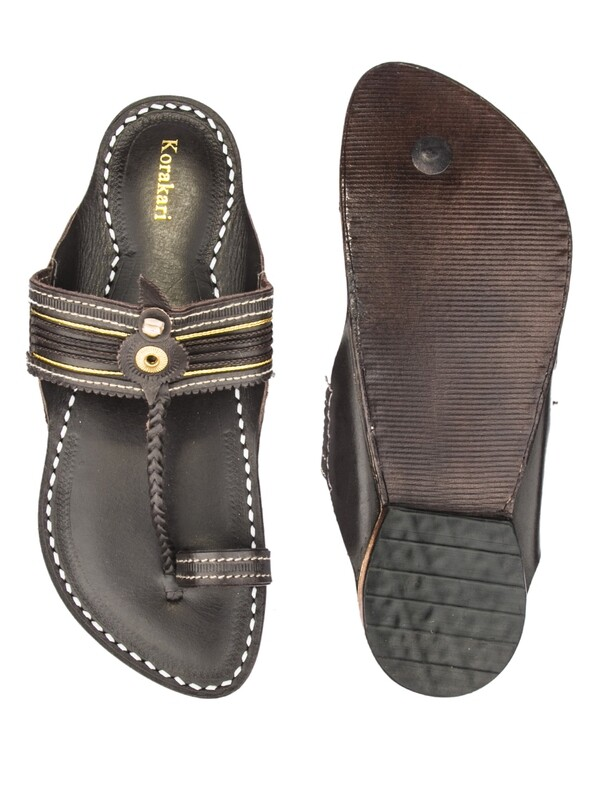 KORAKARI Dark Brown Pure Leater Kapshi Typical Kolhapuri Chappal with Men