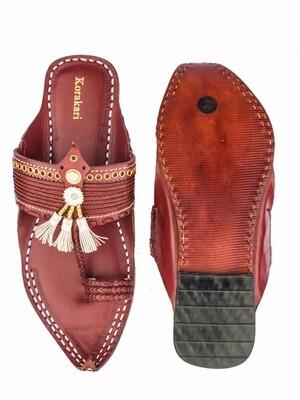 KORAKARI NokwaliRed Pure Leather Kolhapuri Chappal for Men