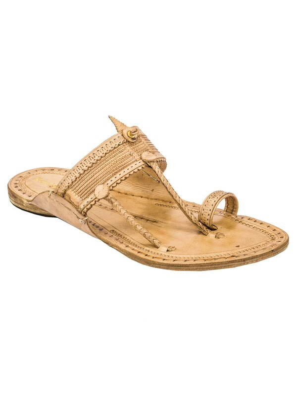 KORAKARI Tan Pure Leather Kapshi Typical Kolhapuri Chappal with Men